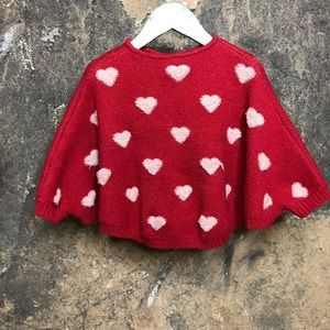 Heart knit cape sweater red and cream toddler